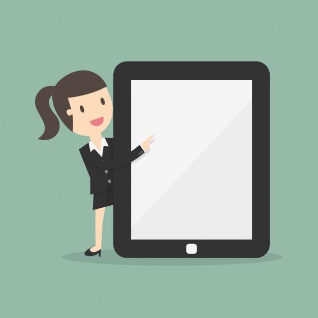 Business vrouw met een grote tablet Gratis Vector