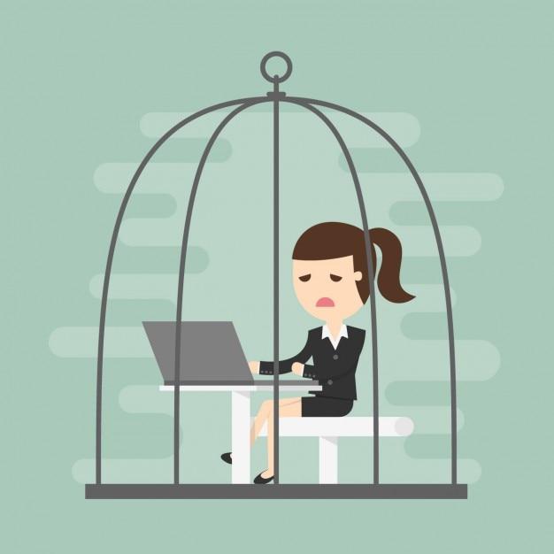 Business vrouw werkt in een kooi Gratis Vector