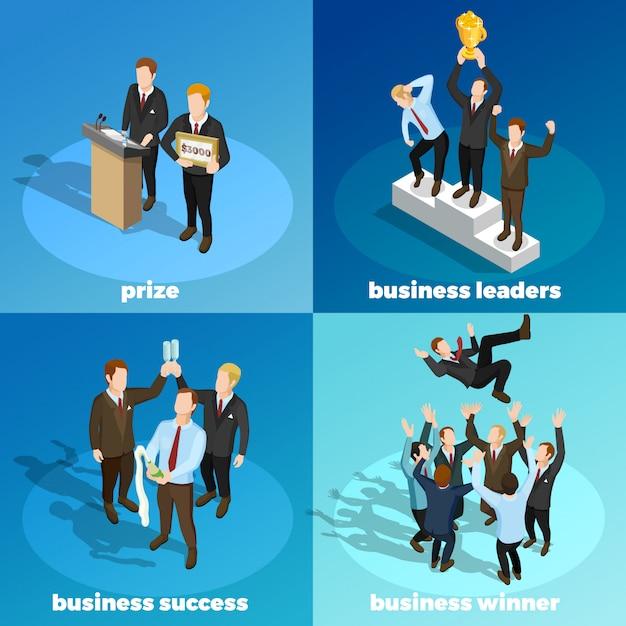 Business winning leaders 4 isometrische pictogrammen Gratis Vector