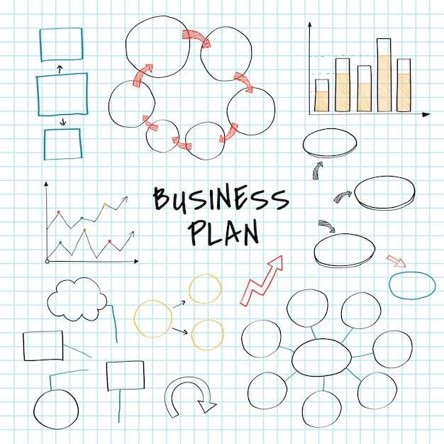 Businessplan dat met grafiek en grafiekvector wordt geplaatst Gratis Vector