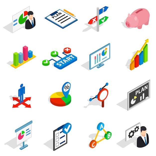 Businessplanpictogrammen in isometrische 3d stijl. bedrijfsstrategiereeks geïsoleerde vectorillustratie Premium Vector