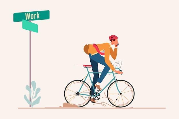 Bussinesman rijdt op de fiets naar het werk Premium Vector