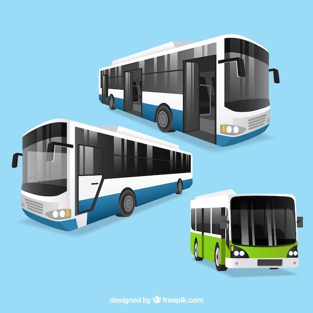 Busstel met verschillende perspectieven Gratis Vector