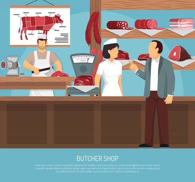 Butcher meat shop flat poster Gratis Vector
