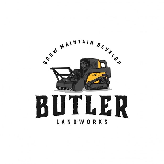 Butler landworks vintage logo-inspiratie Premium Vector
