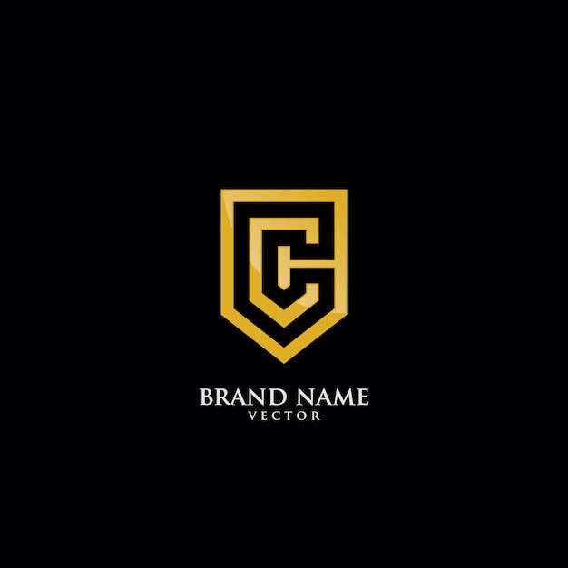 C brief geïsoleerd op gouden schild logo sjabloon Premium Vector