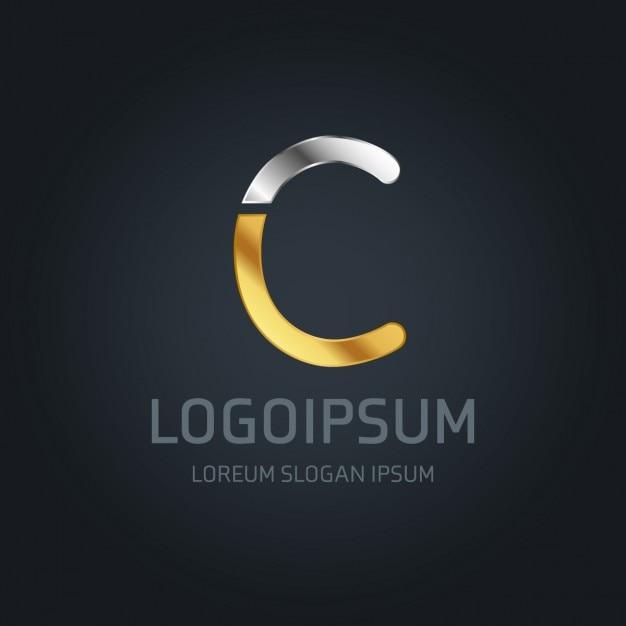 C logo goud en zilver Gratis Vector