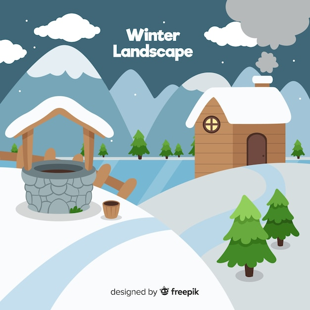 Cabine en goed winter achtergrond Gratis Vector