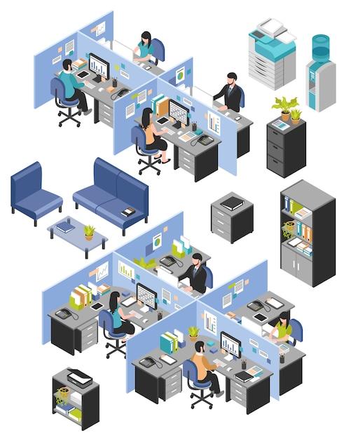 Cabine kantoorwerkplekken ingesteld Gratis Vector