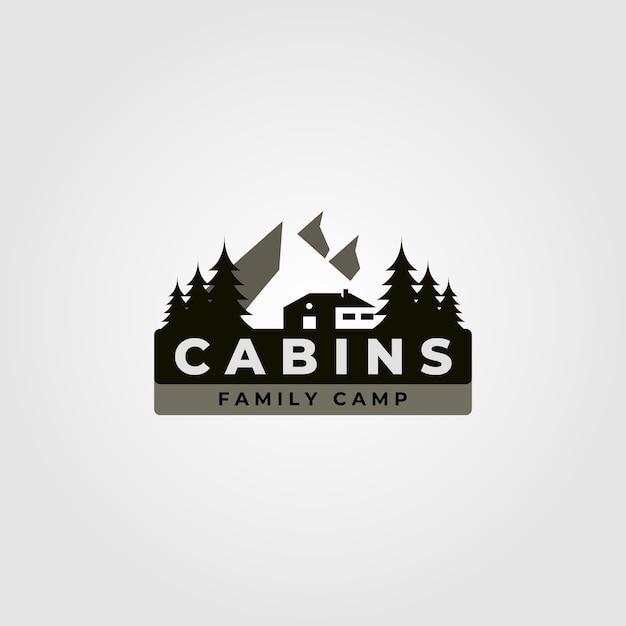 Cabine logo vintage afbeelding met berglandschap illustratie Premium Vector