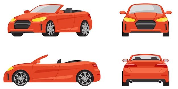 Cabriolet in verschillende hoeken. rode auto in cartoon-stijl. Premium Vector