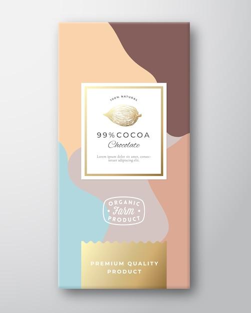 Cacao chocolade label. Gratis Vector
