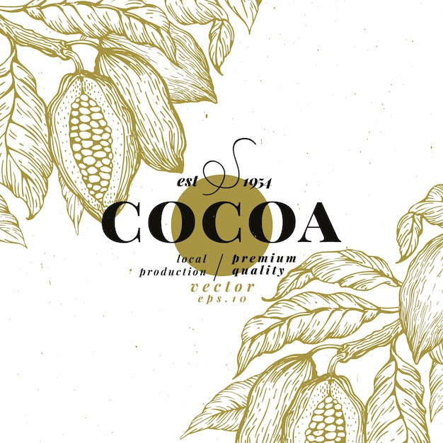 Cacaoboon boom ontwerpsjabloon. chocolade cacaobonen achtergrond. Premium Vector