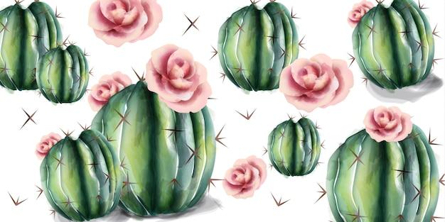 Cactus en bloemenwaterverf Premium Vector