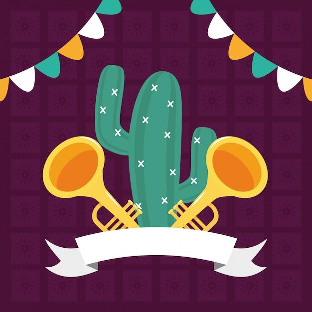 Cactus en trompetten Gratis Vector