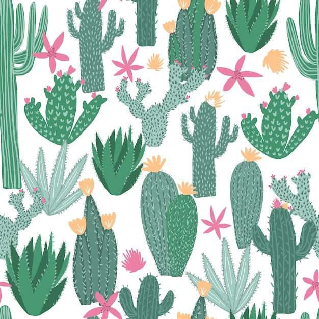 Cactus naadloos patroon op wit Premium Vector