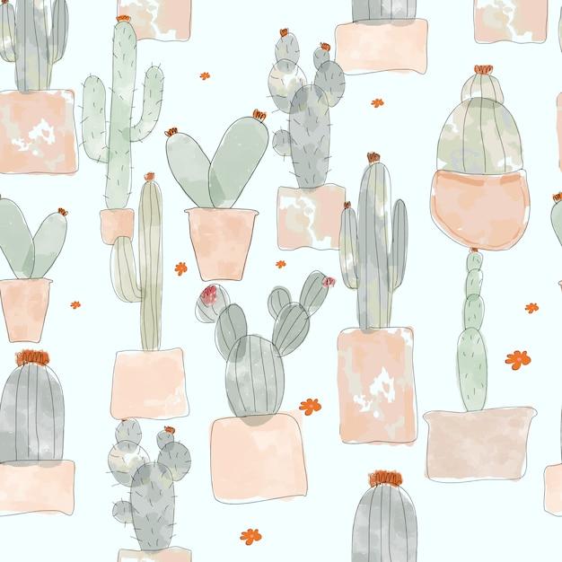 Cactus naadloos patroon Premium Vector
