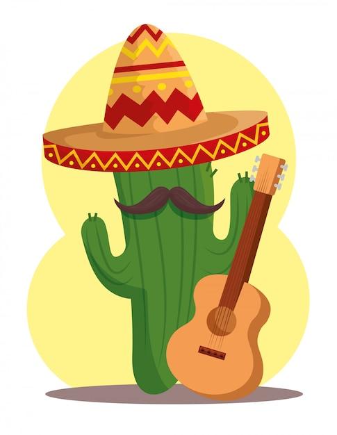Cactus plant met hoed en gitaar voor dag van de doden Gratis Vector