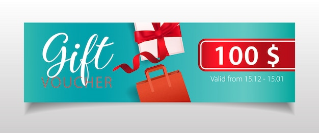 Cadeaubon belettering met geschenkdoos en boodschappentas Gratis Vector