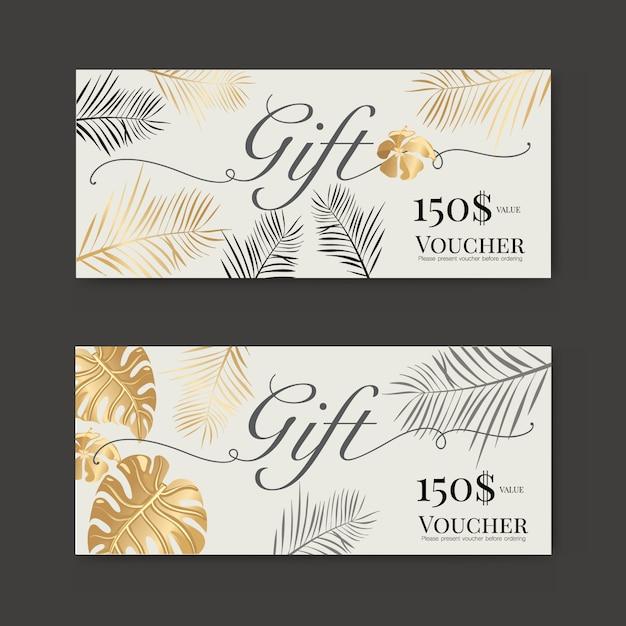 Cadeaubon met gouden tropisch blad Premium Vector