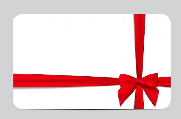 Cadeaubon met rood lint en boog. illustratie Premium Vector