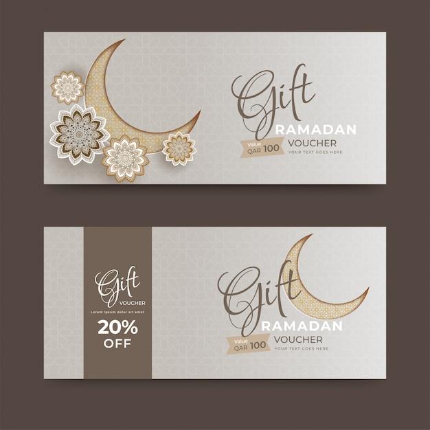 Cadeaubon of coupon lay-out collectie met maansikkel en Premium Vector