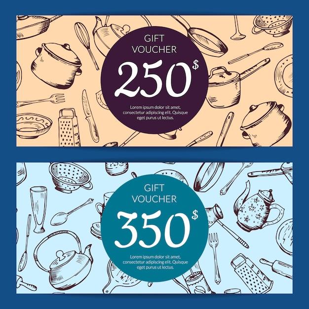 Cadeaubon of kortingskaartsjabloon met hand getrokken keukengerei Premium Vector
