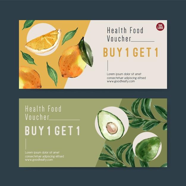 Cadeaubon plantaardige aquarel verfcollectie. vers voedsel organische gezonde illustratie Gratis Vector