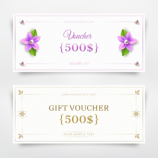 Cadeaubon sjabloon met bloem en parel Premium Vector