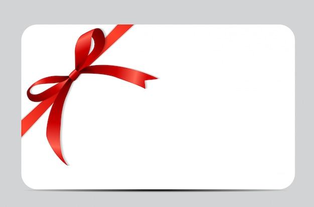 Cadeaukaartenset met rood lint en strik. Premium Vector