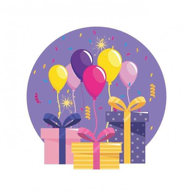 Cadeaus met ballonnen en confetti-decoratie Gratis Vector
