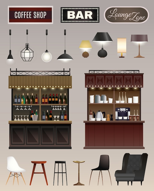 Cafe bar interieur set Gratis Vector