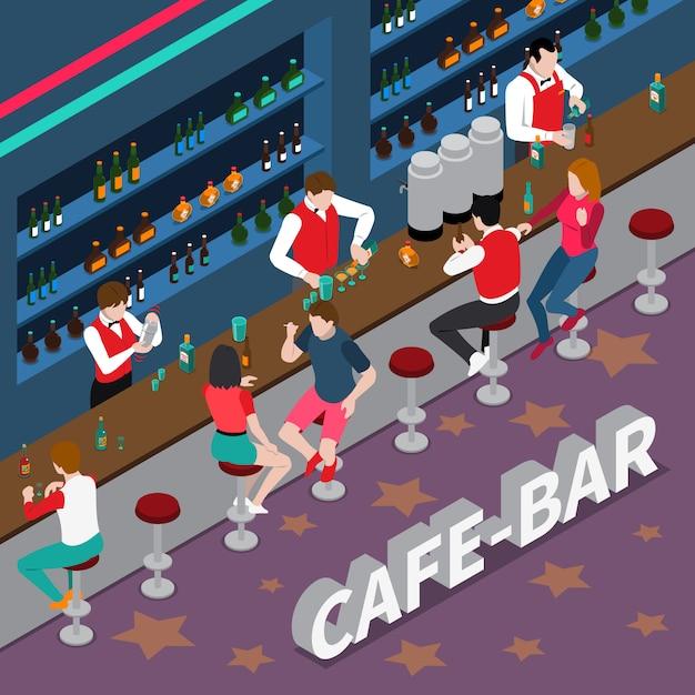 Cafe bar isometrische samenstelling Gratis Vector