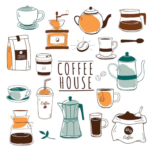 Cafe en koffie huis patroon vector Gratis Vector
