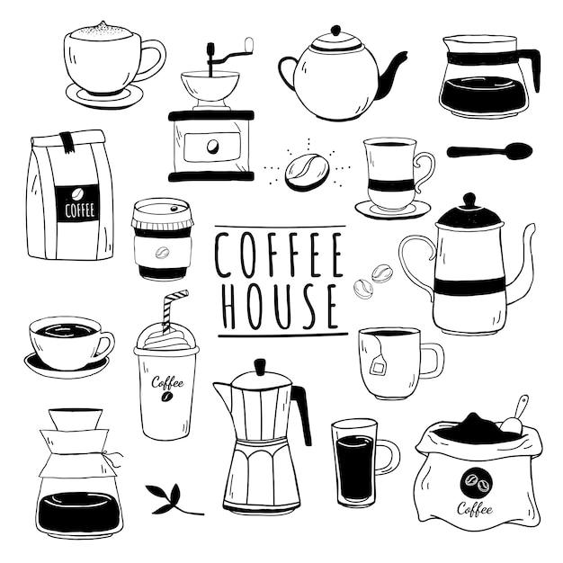 Café en koffiehuis patroon Gratis Vector