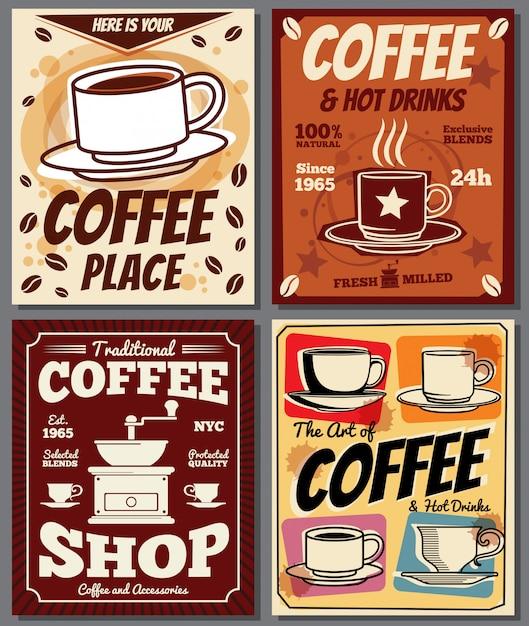 Cafe en restaurant retro posters sjablonen met koffievlek. Premium Vector