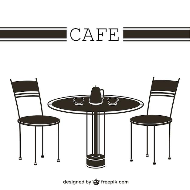 Cafe tafel en stoelen vector gratis download - Tafel en stoelen dineren ...
