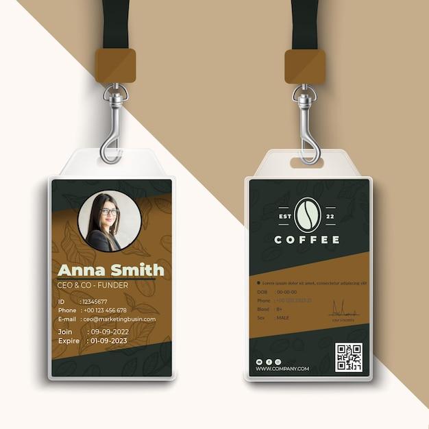 Cafetaria coffeeshop id-kaart afdruksjabloon Gratis Vector