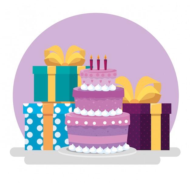 Cake met kaarsen en geschenken met lint strikken Gratis Vector