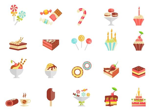 Cake snoep en ijs pictogrammen met diverse plakjes en partjes cake Gratis Vector
