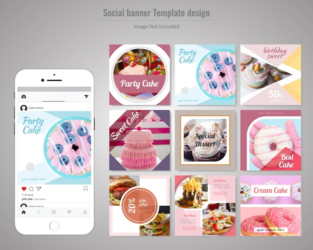 Cake social media post-sjabloon Premium Vector