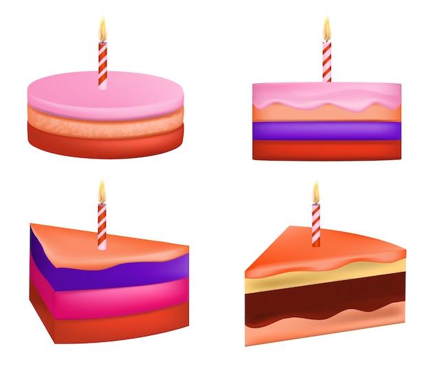 Cake verjaardag pictogrammen instellen, realistische stijl Premium Vector