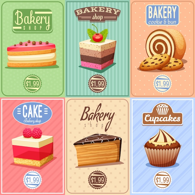 Cakes and sweets mini-posterscollectie Gratis Vector