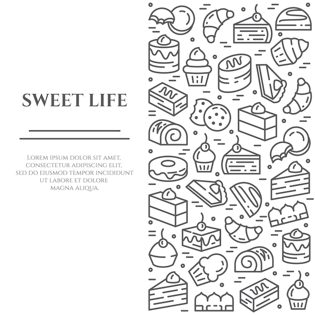 Cakes en koekjes thema banner. Premium Vector