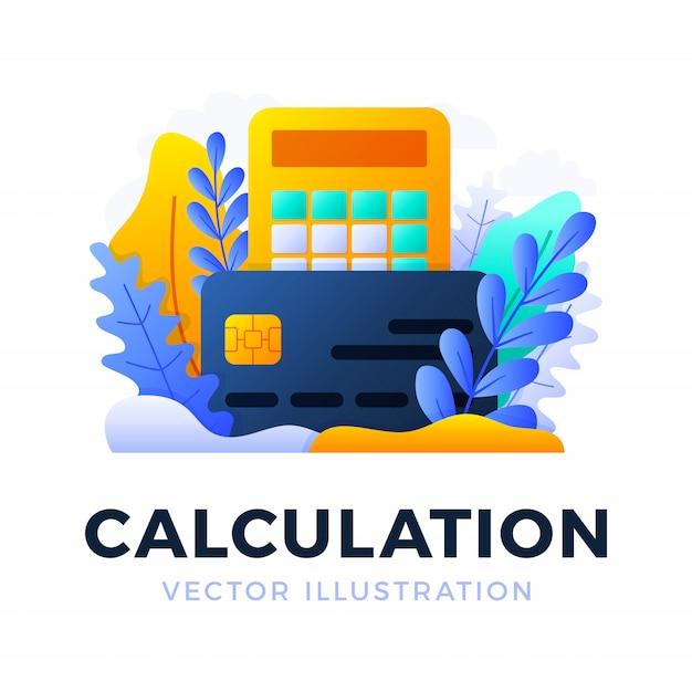 Calculator en creditcard vector geïsoleerde illustratie. het concept van het betalen van belastingen, het berekenen van uitgaven en inkomsten, het betalen van rekeningen. voorkant van kaart met rekenmachine. Premium Vector
