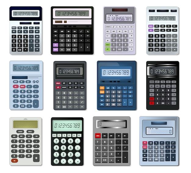 Calculator vector bedrijfsboekhoudingsberekeningstechnologie die financiënillustratie berekenen Premium Vector