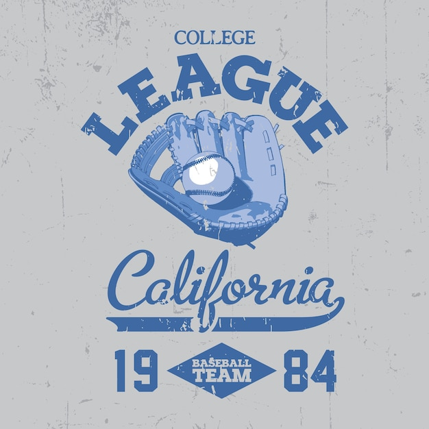 California college league-poster met een balletje op de blauwe illustratie Gratis Vector