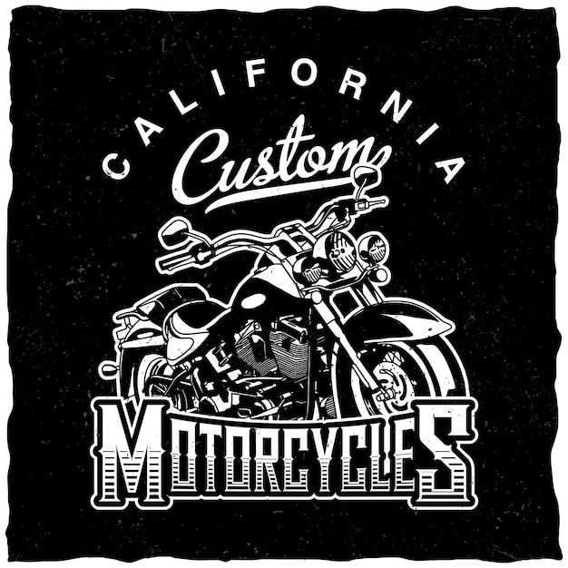 California custom motorcycles-label Gratis Vector
