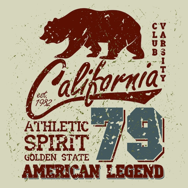 California sport typography, university athletic dept. Premium Vector