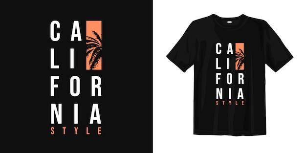 Californië t-shirt design met palm silhouet Premium Vector